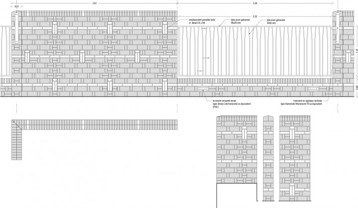 Détails : Jardins pédagogiques · murs clôture et Garde-Corps · Élevation intérieure